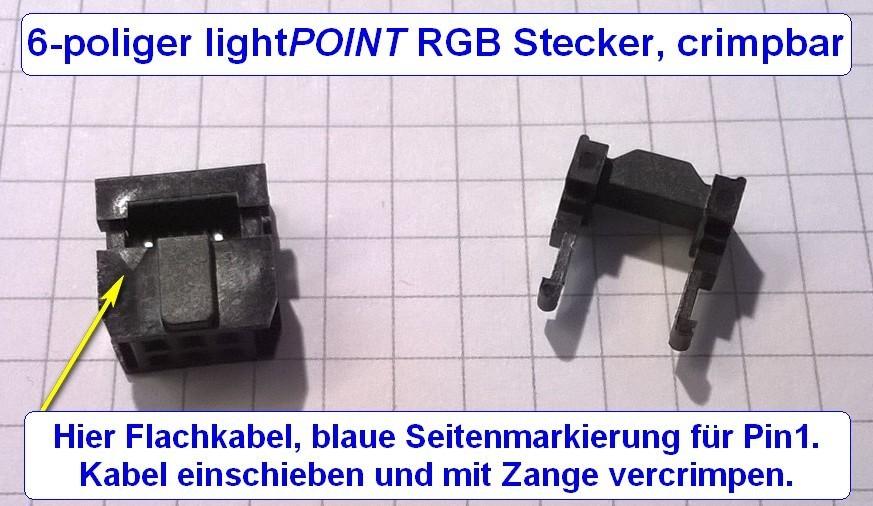 6 poliger lightpoint rgb stecker crimpbar. Black Bedroom Furniture Sets. Home Design Ideas